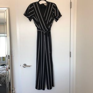 Black & White Stripe Jumpsuit with Slits